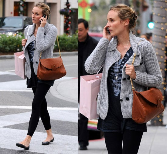 Diane Kruger Shops in Beverly Hills With Gray Cozy Sweater and Tan Bag