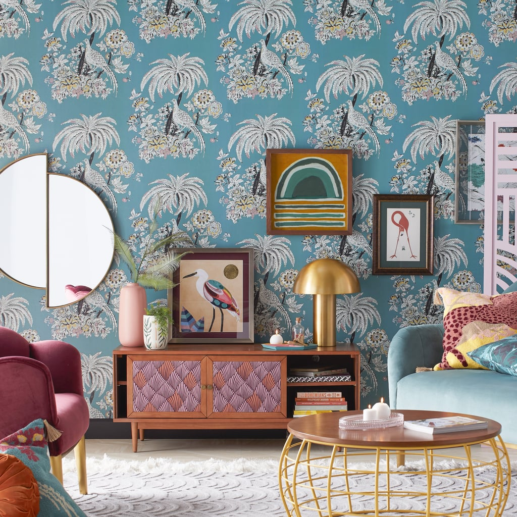 Teal Tropical Toile Peel-and-Stick Wallpaper