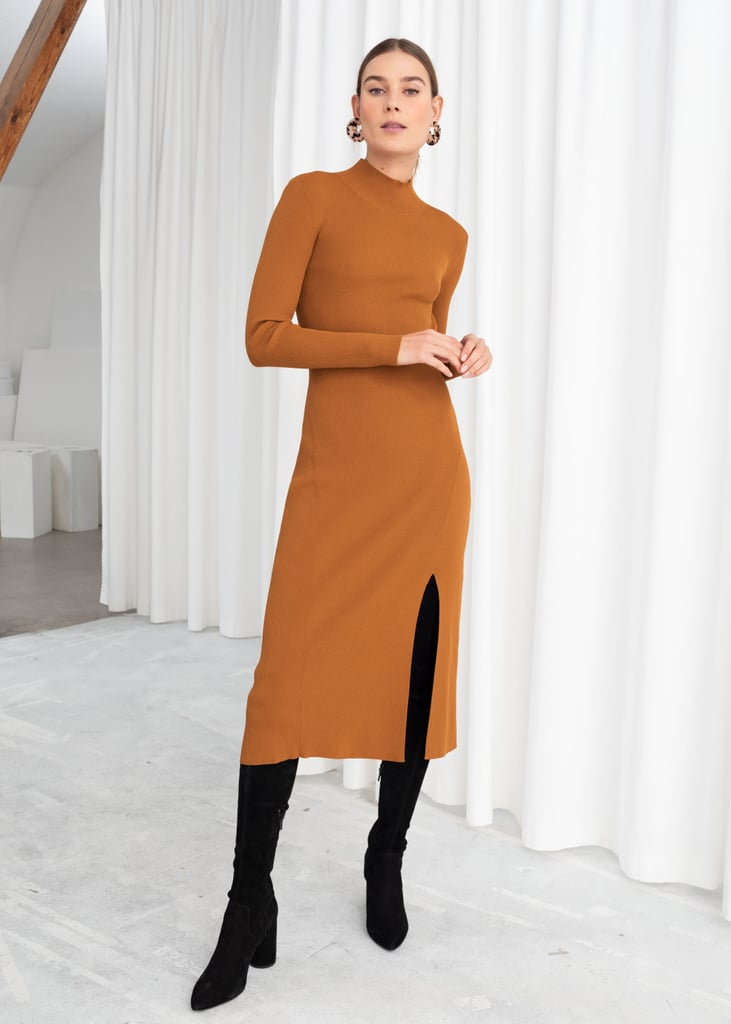 &other Stories Ribbed Turtleneck Midi Dress