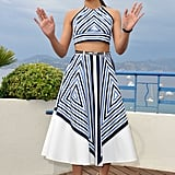 Freida Pinto wore a two-piece skirt and top for the Desert Dancer photocall at the Cannes FIlm Festival.