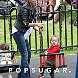Victoria Beckham spent some time on the playground with her daughter, Harper.