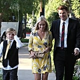 David Boreanaz and wife Jaime arrive with their son Jaden.