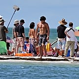 Joe Manganiello wore camo shorts on the beach.