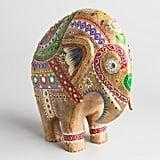 Large Painted Wood Elephant