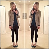 A Structured Monochrome Blazer Contrasts an Elegant Top and Heels of the Same Shade