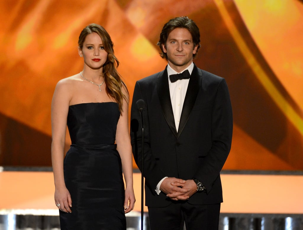Co-stars Jennifer Lawrence and Bradley Cooper on stage at the SAG Awards.