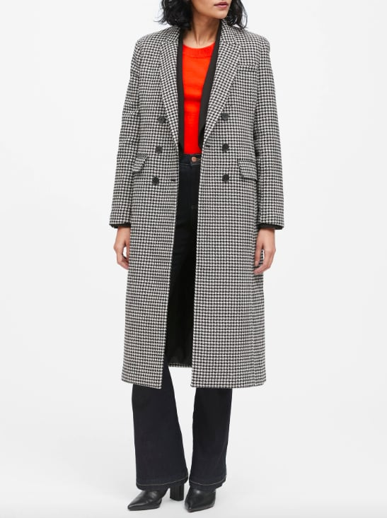 Houndstooth Double-Breasted Car Coat