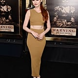 Wearing a body-hugging set with beige heels at the premiere of Annabelle in 2017.