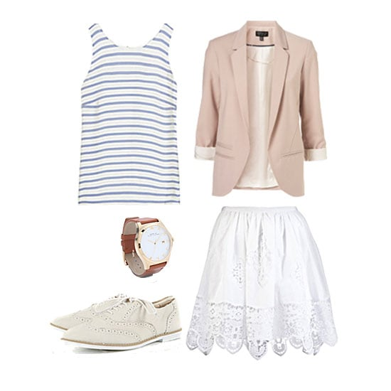 Opt for a breezy afternoon style when you pull together a skirt, blouse and blazer for a sophisticated spin on Summer separates. To finish, oxfords, brogues, or a cool pair of loafers can feel just as dressed-up as a pair of heels or wedges (but they'll be easy on your feet no matter where the festivities take you).  Get the look:  J.Crew Striped Silk Top ($120) By Malene Birger Ritami Lace Skirt ($395) Topshop Structured Blazer ($130) Topshop Maddie Brogues ($64) Marc By Marc Jacobs Ladies Henry Watch ($200)