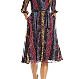 Maison Tara Stripe Paisley Chiffon Faux Wrap Dress