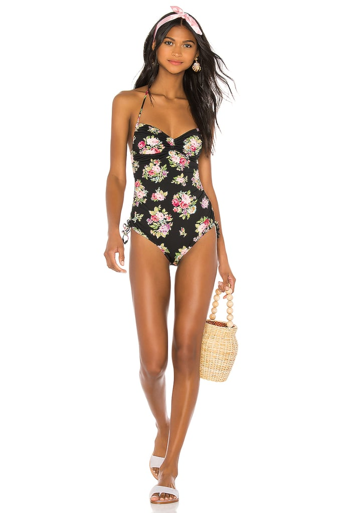 Zimmermann Honour Ruched One Piece in Black Floral