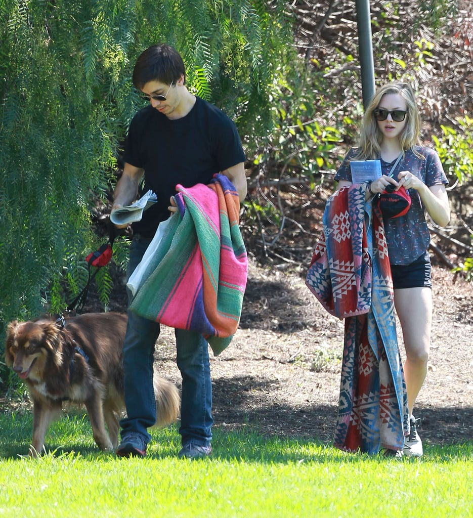 Amanda Seyfried and Justin Long brought her pup along for a park date in LA.