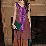 Hailee Steinfeld represents that youthful spirit of the Marc Jacobs girl and now, you understand why. Her multicolor patchwork-style dress was a sweet choice, but we're totally in love with how she accessorized. Hailee partnered the look with a solid green clutch and Marc Jacobs platforms.