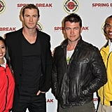 Chris and Luke Hemsworth took pictures with AmeriCorps members on Saturday at an education fundraiser.