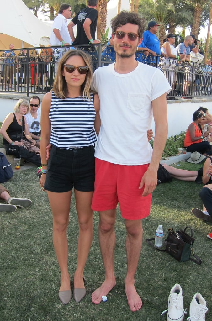 Sweet classic stripes on her, bright red shorts on him.