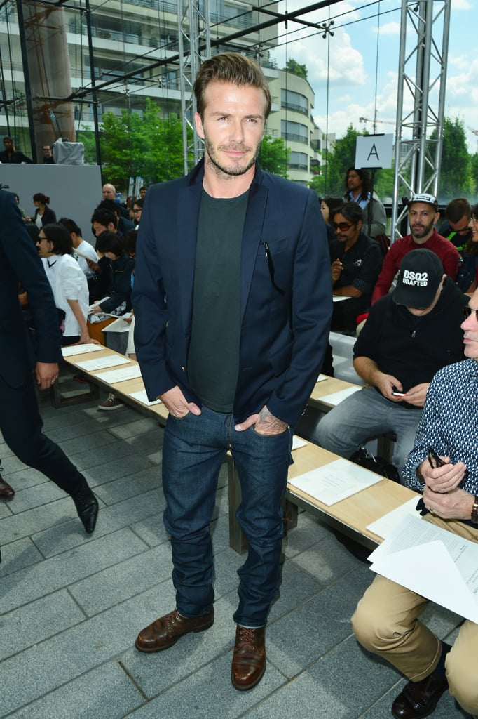 David Beckham is a big fan of the five-o'clock shadow, but his stubble looked longer than usual when he visited the Louis Vuitton Menswear Spring/Summer 2014 show in Paris today. It's the perfect time to grow a beard if David is planning on trying out a new look — he officially retired from soccer in May and wrapped up a visit to China with Victoria Beckham on Wednesday. Aside from his trip to Asia, David has been taking it easy since he left the soccer field. He recently went on a family trip to LA with his children and also spent time in Miami, where he is rumored to be starting a new MLS team. Victoria didn't join David for his trip to the shows today, but that doesn't mean that she won't pop up later and cause a sensation with one of her stylish ensembles. Be sure to check out more great street style from the Menswear collections for a look at what all the fashionable men and women are wearing this Summer.