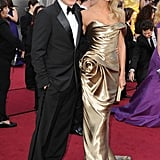 Stacy Keibler in a gold Marchesa gown at the Oscars.