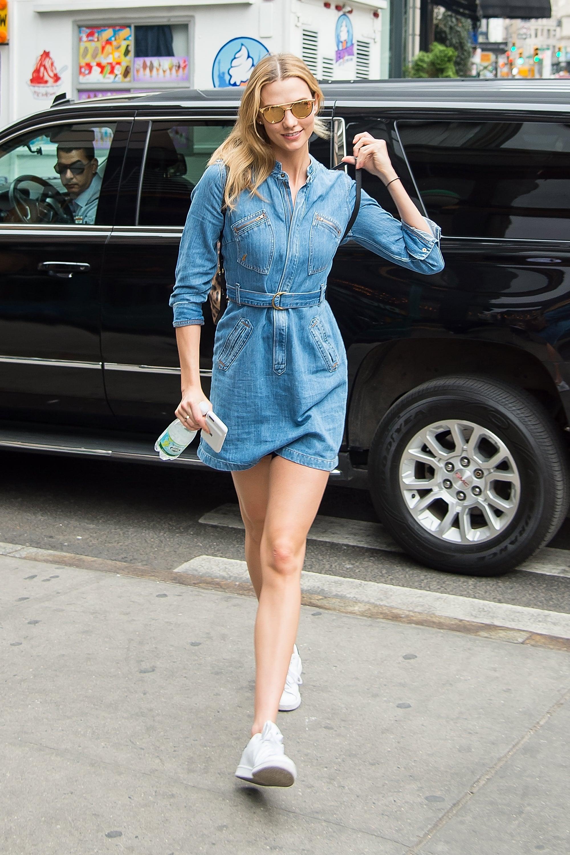 A denim shirt dress will always work for model-off-duty street ...