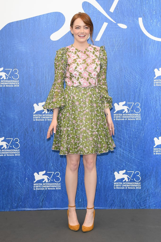 Emma stone 39 s floral dress at the venice film festival 2016 for Tile fashion 2016