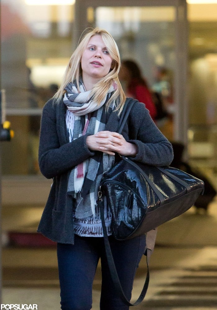 Claire Danes wore a scarf at LAX.