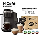 Keurig K-Cafe Single Serve Latte and Cappuccino Coffee Maker and Espresso Roast K-Cup Pod Variety Pack