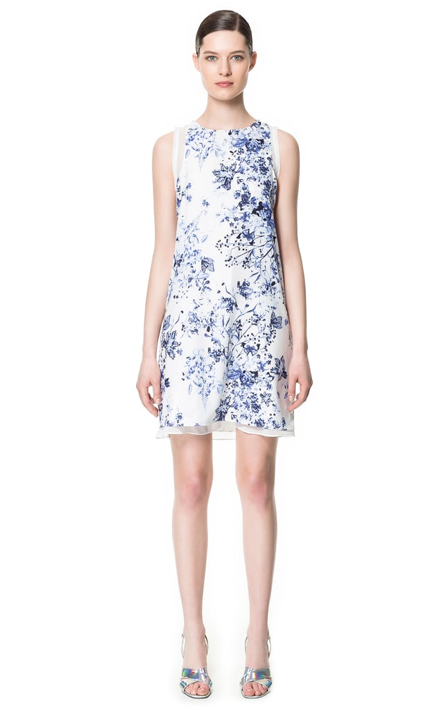 81f45b7e7be Finish this Zara layered printed dress ( 70) with a white blazer and  metallic heels