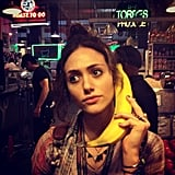 Emmy Rossum picked up a call via banana. Source: Instagram user emmyrossum