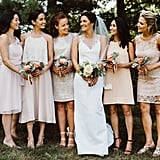 This bridal party wore blush, peach, and beige dresses in all different styles.