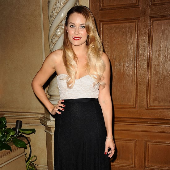 Lauren Conrad Wearing Ivory and Black Dress