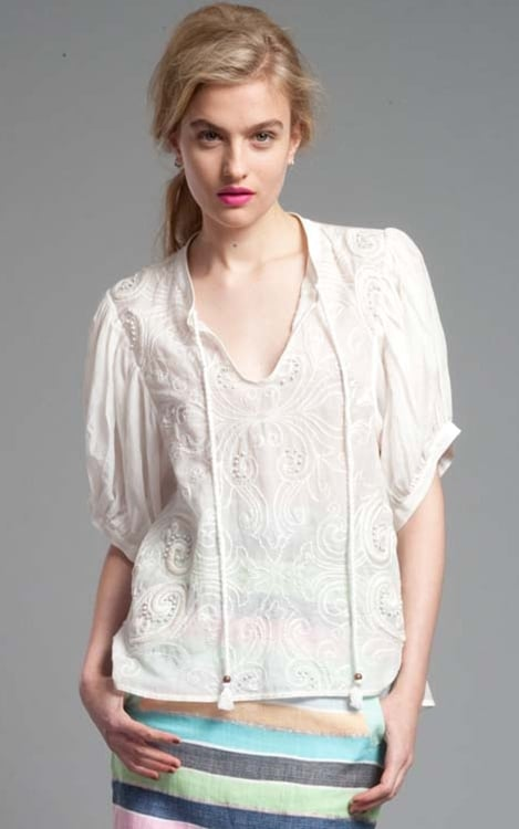 Slip this floaty rope-tie blouse on with a pair of dark denim cuffed jeans for a boho-cool look. Tracy Reese Easy Peasant Top ($298)