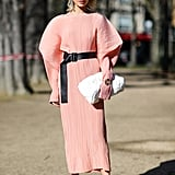 Ground Your Pastels With a Dark, Strapping Belt and Pumps