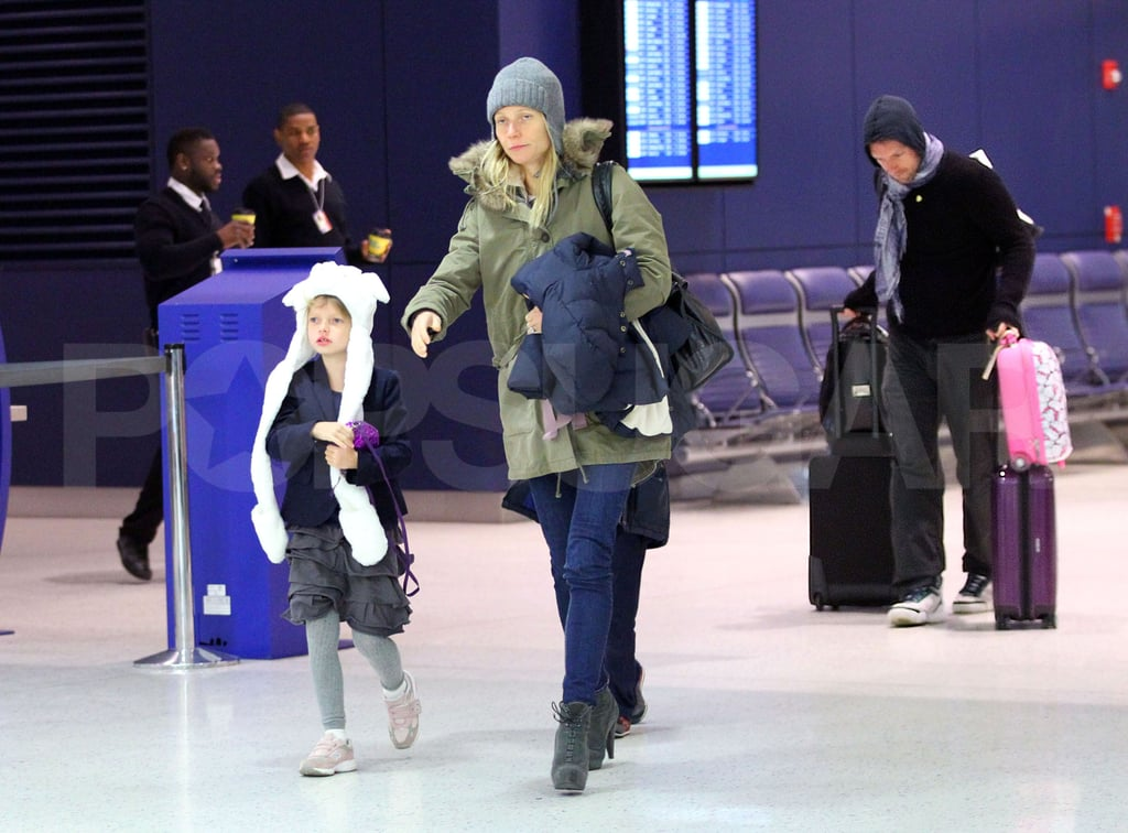 Gwyneth Paltrow was spotted at NYC's JFK airport on Sunday. She took off for London with her husband Chris Martin, and their children, 6-year-old Apple and 5-year-old Moses. The family has since settled back into their UK routine, and Chris was seen out for a stroll along Notting Hill's Portobello Road yesterday afternoon with a pal. It didn't take Gwyneth long to see her English friends, either. She joined Kate Moss and Stella McCartney for an evening out at the Arts Club last night. She also spent time prepping her latest GOOP newsletter. Gwyneth collected tips on starting a small business from the founders of various online companies.