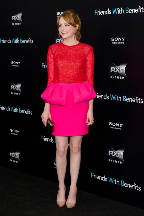 Emma Stone wore a Fall 2011 Giambattista Valli colorblock dress to a July 18th premiere in New York City.   Continue to shop this trend.