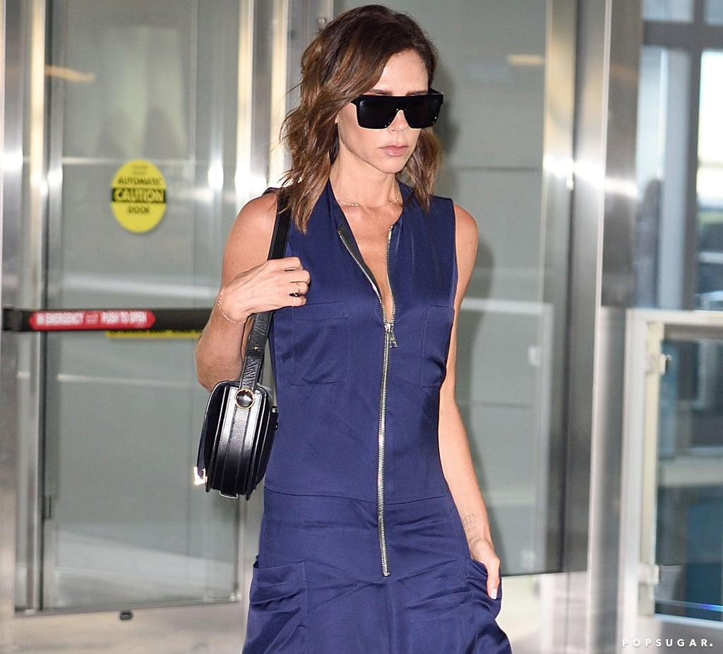 victoria beckham blue jumpsuit august 2016 popsugar fashion. Black Bedroom Furniture Sets. Home Design Ideas