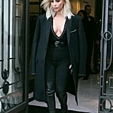 Kim Suited Up in All Black at PFW