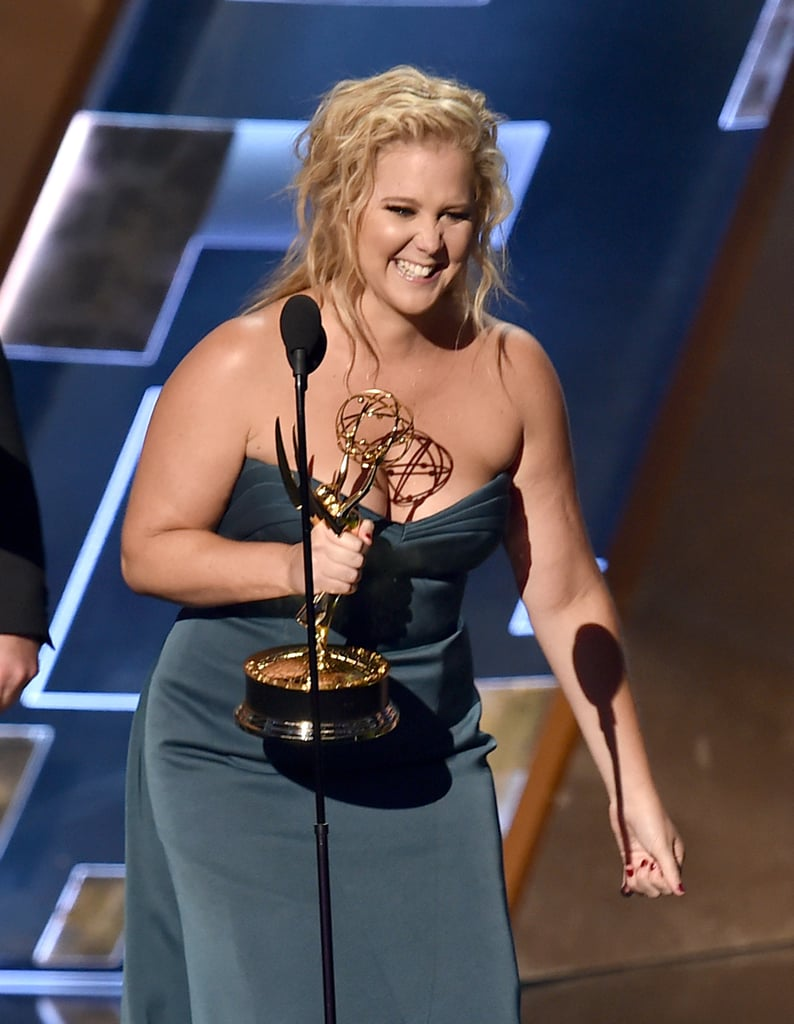 It's safe to say Amy Schumer had a great Sunday night! At the Emmy Awards in LA, the star took the stage to accept the award for outstanding variety sketch series for Inside Amy Schumer. Later, she was spotted posing with her award, all smiles, and at one point, Amy hilariously jumped into a picture with the Game of Thrones cast. Keep reading for a look at all the best photos from Amy's exciting night, and then check out her adorable Emmys speech, plus hilarious Amy Schumer quotes.