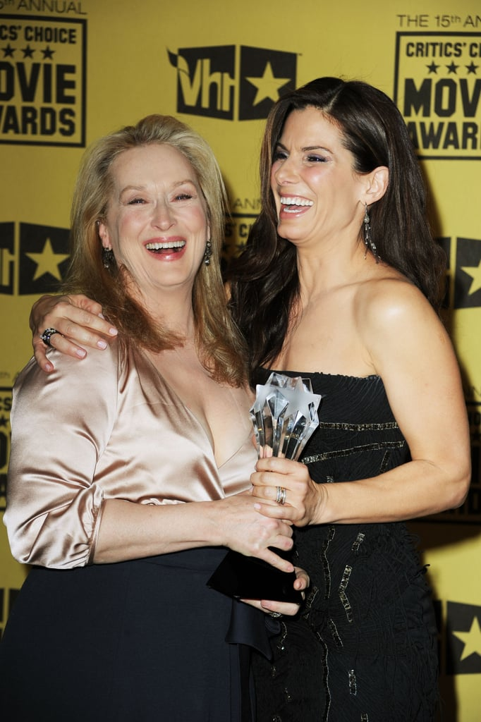 Meryl Streep and Sandra Bullock posed in the press room at the 15th annual Critics' Choice Movie Awards in January 2010 in LA.