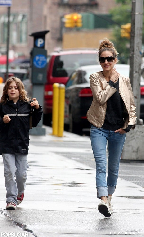 Sarah Jessica Parker walked James Wilkie Broderick to his school in the West Village.