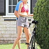 Taylor Swift got into her bikini to visit her boyfriend Conor Kennedy in Massachusetts.