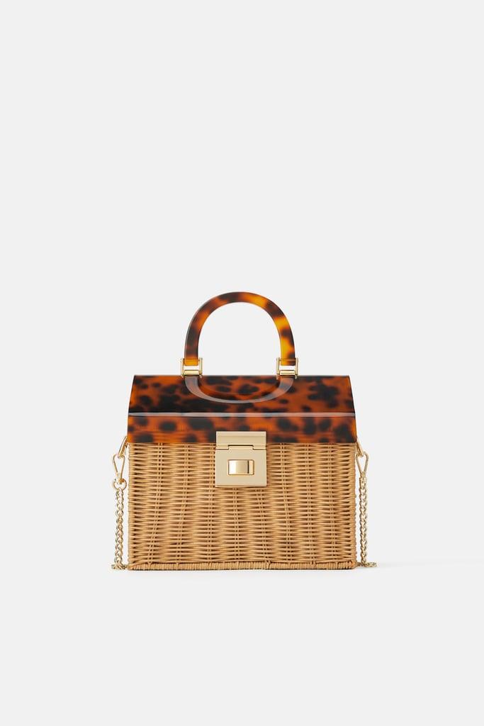 Zara Raffia City Bag With Tortoiseshell