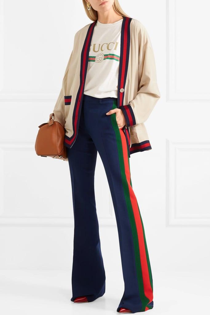 Gucci Oversize Grosgrain Trimmed Silk Crepe De Chine Cardigan