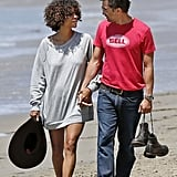 Halle Berry and Olivier Martinez took a romantic walk on the beach.