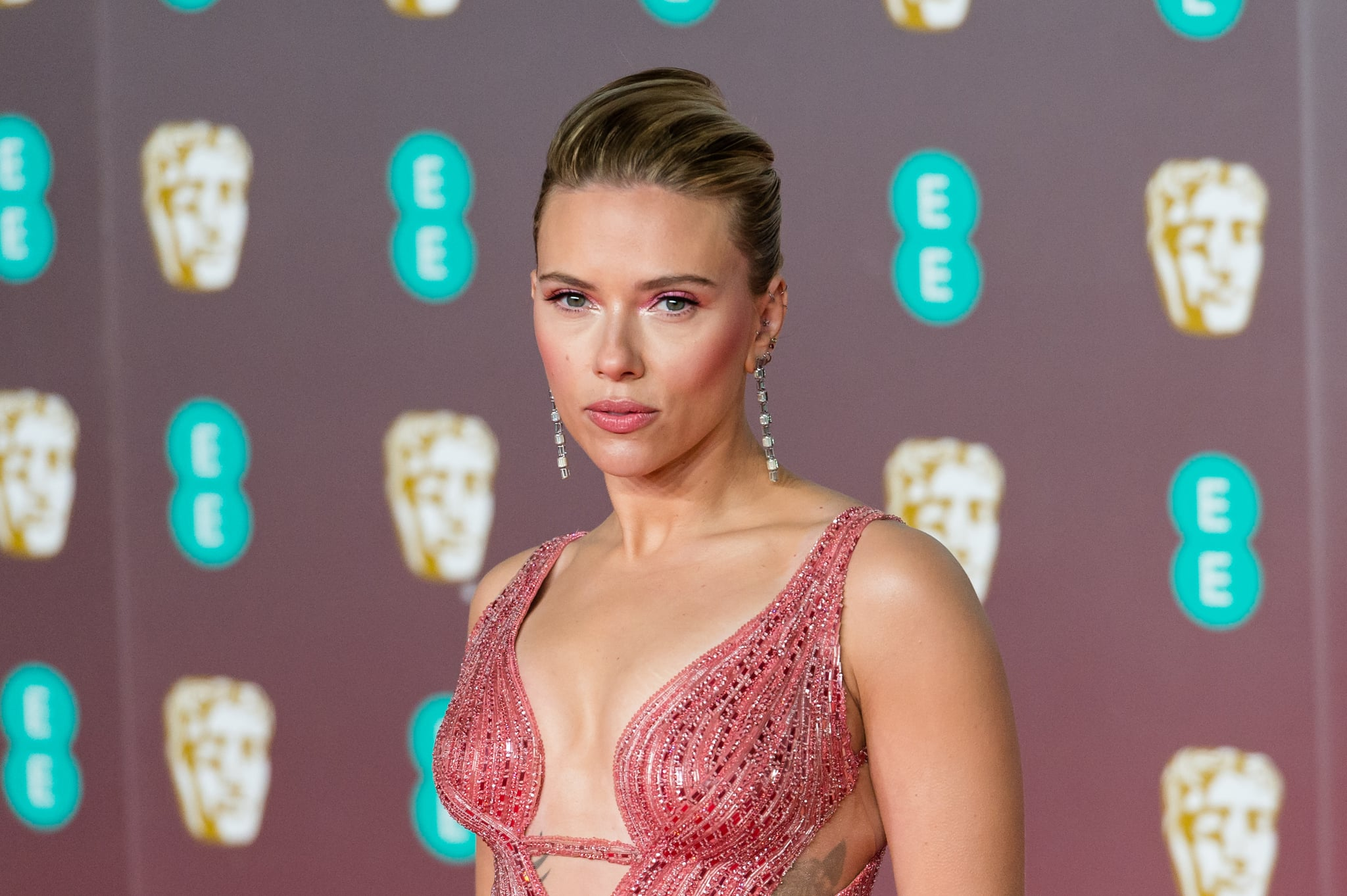 Scarlett Johansson attends the EE British Academy Film Awards ceremony at the Royal Albert Hall on 02 February, 2020 in London, England. (Photo by WIktor Szymanowicz/NurPhoto via Getty Images)
