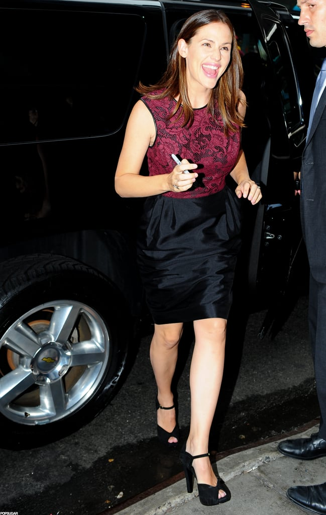 Jennifer Garner looked happy to arrive at Good Morning America in NYC.