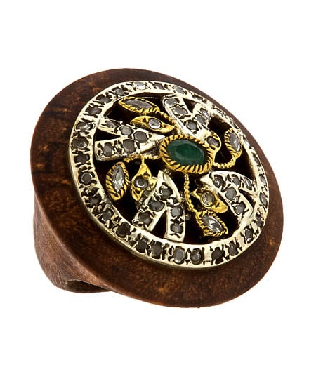Gara Danielle Victorian Wood and Emerald Ring ($225)