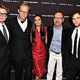 Simon Baker, Paul Bettany, Demi Moore, Kevin Spacey, and Penn Badgley at the Margin Call premiere in NYC.