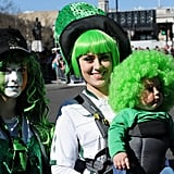 A woman in the UK put a green wig on her little one.