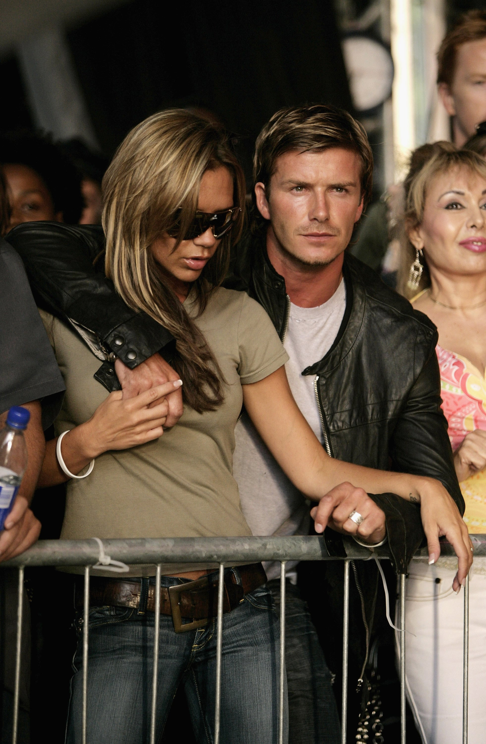 David had his arm around Victoria while watching Live 8 London in July 2005.