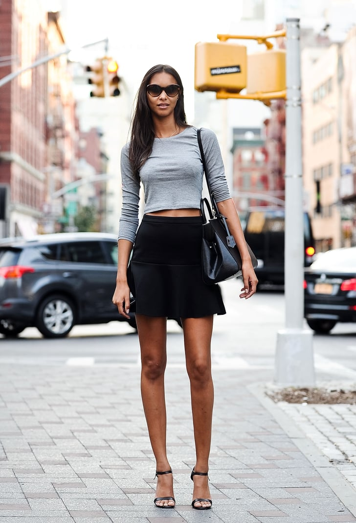 Lais Ribeiro wearing a Topshop top, a Mango skirt, a Louis ...