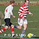 Prince William went head-to-head with Prince Harry and his beard during a soccer game at Castle Rising in Norfolk, England.